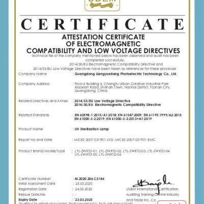 Certyfikat CE lamp bakteriobójczych UVC 38W - 150W
